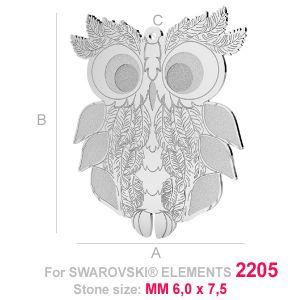 Grand pendentif chouette (2205 MM 6x7,5) - LK-0584