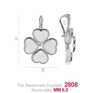 Coeur trèfle attache pendentif argent - HKSV 2808  4x6MM KRP