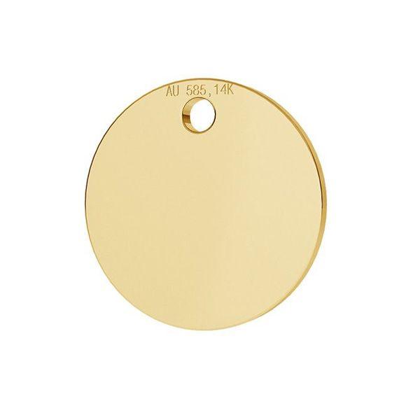 Étiquette ronde pendentif or 14K or LKZ-00025 - 0,30 mm