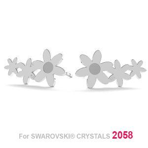Fleur boucle d'oreille (2058 SS 7), LK-1179 KLS - 0,50