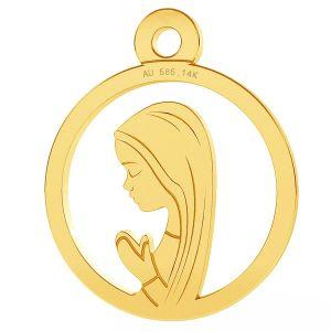 Notre médaillon de dame Fatima pendentif, or 14K, LKZ-00661 - 0,30