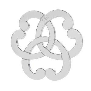 Triquetra cœur rosette pendentif, argent 925, LK-1260 - 0,50