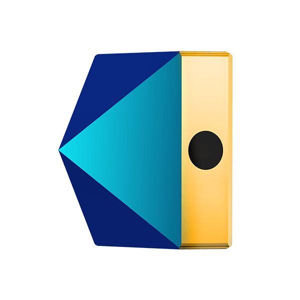 Square Spike Bead, Swarovski Crystals, 5061 MM 5,5 CRYSTAL METALLIC BLUE