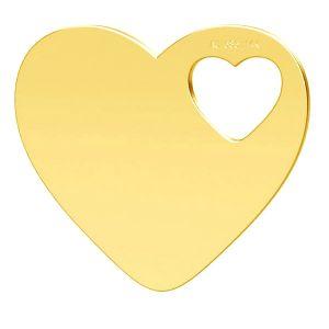 Cœur pendentif, or 14K, LKZ-01304 - 0,30