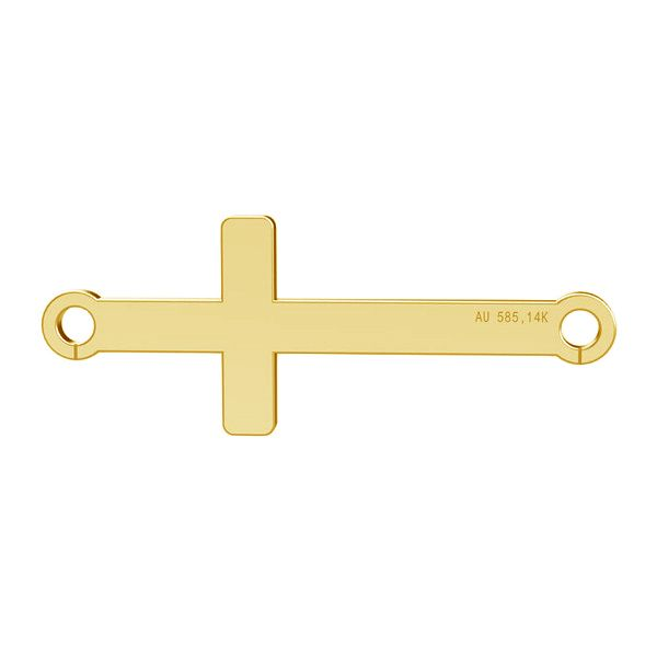 Croix horizontale pendentif, or 14K, LKZ-00524 - 0,30