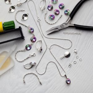 DIY bracelet, argent 925, Swarovski, DIY with SILVEXCRAFT  NO.02001