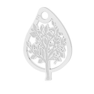 Papillon des feuilles pendentif, argent, LK-1473 - 0,50