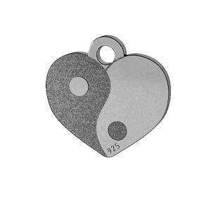 Yin Yang cœur pendentif, argent, LK-1479 - 0,50