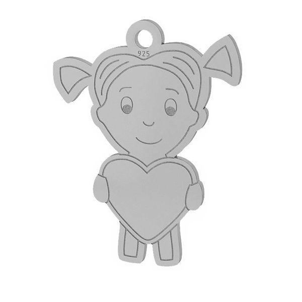 Fille cœur pendentif argent, LKM-2047