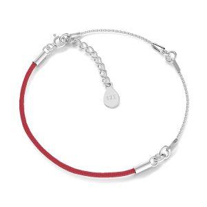 Bracelet base, argent 925, S-BRACELET 15 (RED)