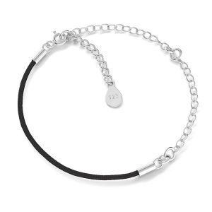 Bracelet base, argent 925, S-BRACELET 17 (BLACK)
