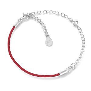 Bracelet base, argent 925, S-BRACELET 17 (RED)