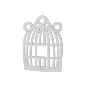 Cage à oiseaux pendentif argent, LKM-2092 - 0,50