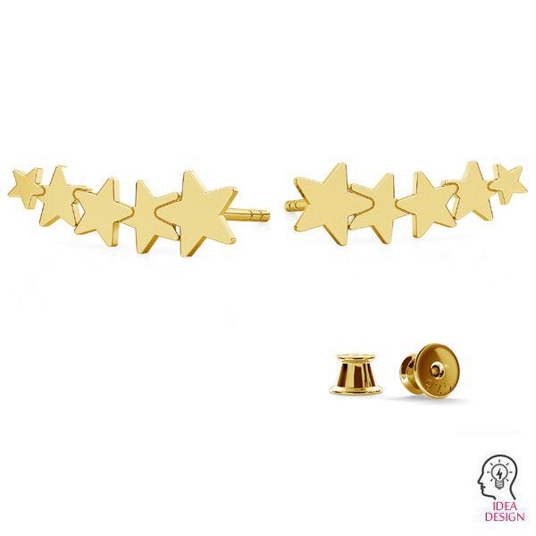 Etoile boucles d'oreilles, argent 925, LKM-2177 KLS - 0,50