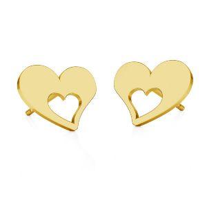 Cœur boucles d'oreilles, argent 925, KLS LKM-2357 - 0,50 8,4x8,4 mm