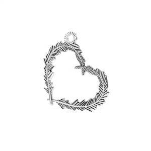 Coeur plume pendentif *argent 925*ODL-00723 18,6x22 mm