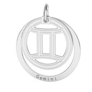 Gémeaux pendentif zodiaque, argent 925*LKM-2585 - 0,50 18x22 mm
