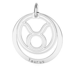 Taureau pendentif zodiaque, argent 925*LKM-2586 - 0,50 18x22 mm