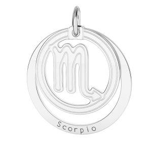 Scorpion pendentif zodiaque, argent 925*LKM-2592 - 0,50 18x22 mm
