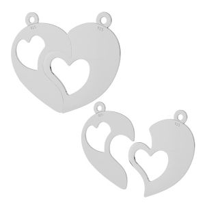 Coeur fendu pendentif argent, LKM-2046
