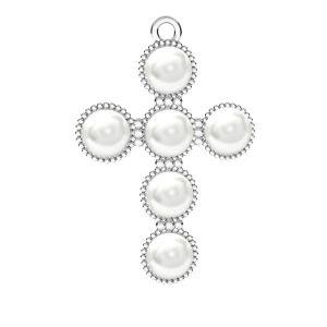 Cœur pendentif Swarovski perle, ODL-00666 20,5x29,5 mm ver.2
