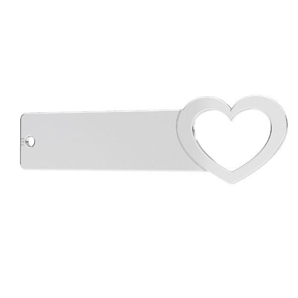 Rectangulaire pendentif cœur*argent 925*LKM-2637 - 0,50