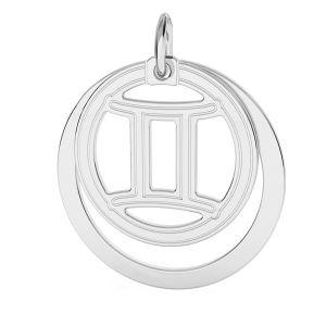 Gémeaux pendentif zodiaque, argent 925*LKM-2585 - 0,50 ver.2 18x22 mm
