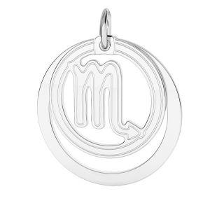Scorpion pendentif zodiaque, argent 925*LKM-2592 - 0,50 ver.2 18x22 mm