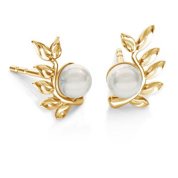 Feuilles des boucles d'oreilles Swarovski perle, ODL-00791 L+P 6,7x10,5 mm (5818 MM 4)