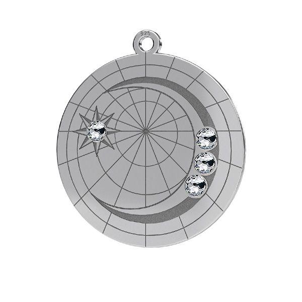 Lune pendentif*argent 925*LKM-2625- 0,50 22x23,5 mm