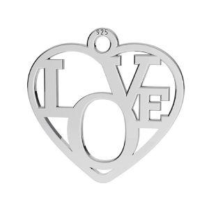 Cœur pendentif, argent 925, LK-2677 - 05 15,5x16 mm
