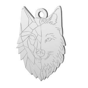 Loup pendentif argent, LKM-2223 - 0,50 14x20 mm