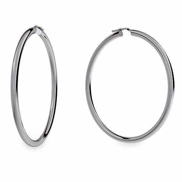 Boucles d'oreilles créoles 8,0 cm, argent 925, KL-470 4x70 mm