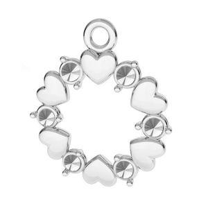 Cœur pendentif argent 925, ODL-00812 13,5x15,5 mm