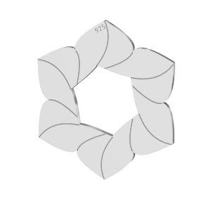 Fleur pendentif, argent 925, LKM-2788 - 0,50 14,7x17 mm