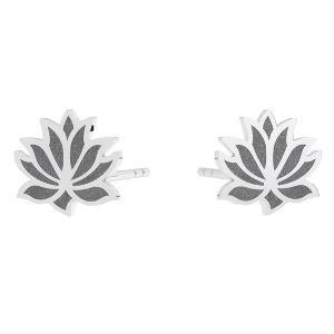 Fleur de lotus boucle d'oreille, argent 925, KLS LKM-3002 - 0,50 9x9 mm