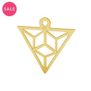 Origami triangle pendentif argent, LK-1508 - 0,50